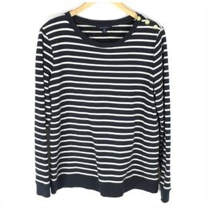 Land's End Nautical Striped Sweatshirt Pullover